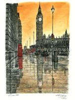 """""""Big Ben on a rainy evening in London by Stephen Wiltshire MBE"""" by Stwilts at English Wikipedia. Licensed under CC BY-SA 3.0 via Wikimedia Commons."""