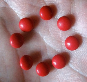 Little red pills. Jon nagl on Flikr. https://www.flickr.com/photos/jonnagl/2470078845
