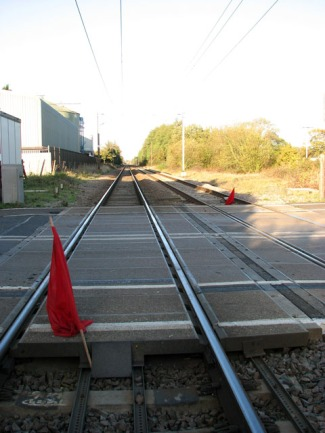 Red Flags on the Railway Line. Evelyn Simak on geograph. http://www.geograph.org.uk/photo/1572393