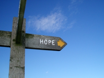 Hope. Sign pointing to the village of Hope, Derbyshire UK. Paul Sifter on Flikr. https://www.flickr.com/photos/polsifter/4047982682