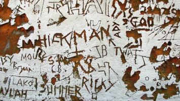 Names scratched into a wall. Evelyn Simak on Geograph. http://www.geograph.org.uk/photo/4681807